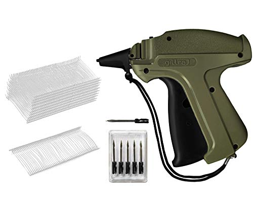 "GILLRAJ MILAN Clothes Tagging Gun with 5000 1"" Standard Tags Attachments and 6 Needles Clothing Retail Price Tag Gun Kit for Boutique Store Warehouse Consignment Garage Yard Sale (1"" 5000)"