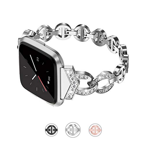 TOYOUTHS Bling Bracelet Compatible with Fitbit Versa Bands for Women Metal Strap with Rhinestones Wristband Replacement for Versa Lite Special Edition Accessories Silver