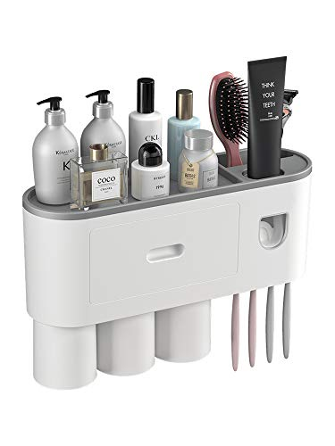 CASUN Multifunctional Wall-Mounted Toothbrush Holder,Automatic Toothpaste Dispenser Kit with 4 Toothbrush Slots and Drawer Magnetic,Space-Saving Toothbrush Storage Organizer for Bathroom (3CUPS)