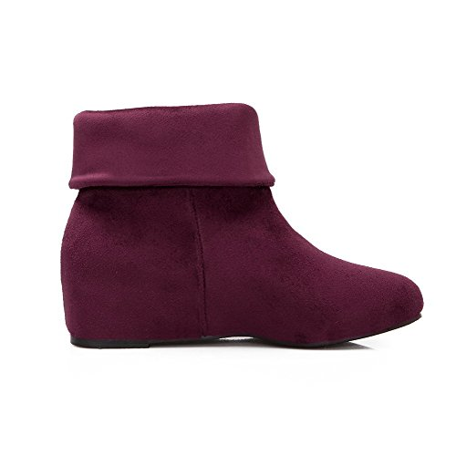 Solid Toe AgooLar Women's Round Purple Heels Low Closed Boots Frosted Kitten top I1gXRqgSw