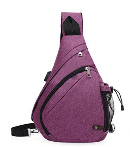 FZHLY Hombro De Los Nuevos Hombres De Moda Bolsa De Tela Oxford Bolsa De Mensajero En El Pecho,Grey Purple
