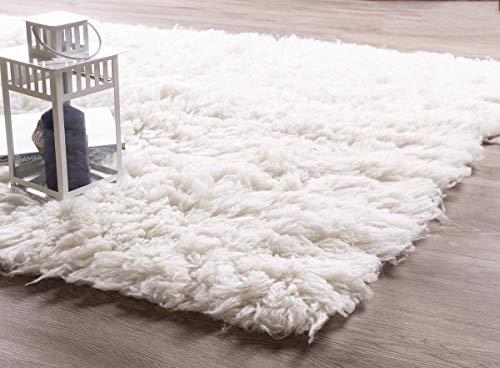 White Flokati Rugs - Super Area Rugs White Wool Shag Rug Eco-Friendly Long Pile Flokati Rug for Bedroom 8' x 10' Rectangle