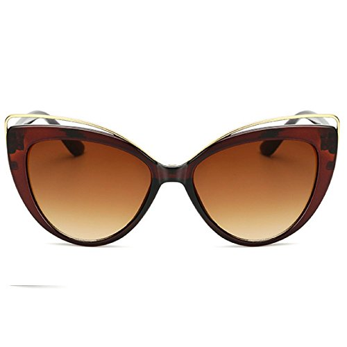 Classic Look Cat-Eye Sunglasses by DBzon | Vintage Sunglasses for Women, Retro Sunglasses Arms w/ Plastic Frame | UV400 Rated Trendy Frame Sunglasses; in Brown