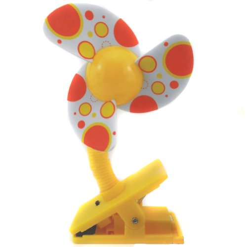 (Nsstar Battery Powered Baby Clip-On Mini Stroller Fan for Strollers Baby Cots Playpens (Yellow))