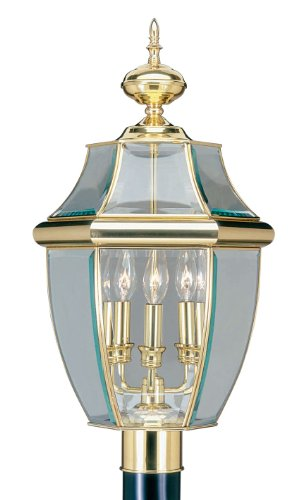 Livex Lighting 2354-02 Monterey 3 Light Outdoor Polished Brass Finish Solid Brass Post Head with Clear Beveled - Post Brass Large Outdoor Polished
