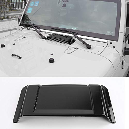 JeCar Jeep Black Cowl Hood Vent Scoop Vent Cover for 1997-2017 Jeep Wrangler TJ JK & Unlimited (Black)