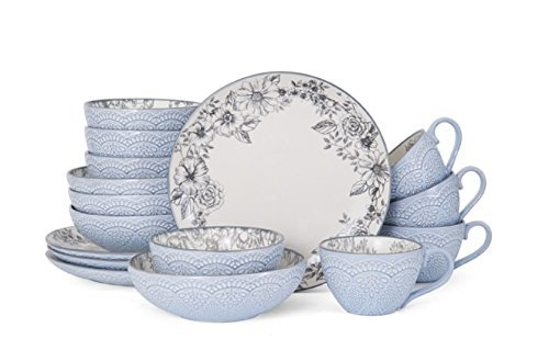 Pfaltzgraff Gabriela Gray 16-Piece Stoneware Dinnerware Set,