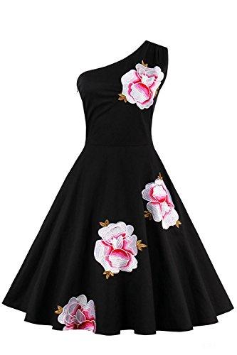 Babyonlinedress Vestido vintage para mujer estilo casual y elegante hombro solo sin mangas vestido de fiesta de coctel negro