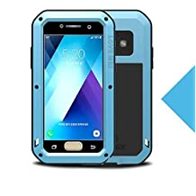 "Samsung Galaxy A520/A5 Metal Case,Shockproof Waterproof Dust/Dirt/Snow Proof Aluminum Metal Gorilla Glass Protection Case forSamsung Galaxy A520/A5 2017(5.2"") (Blue)"