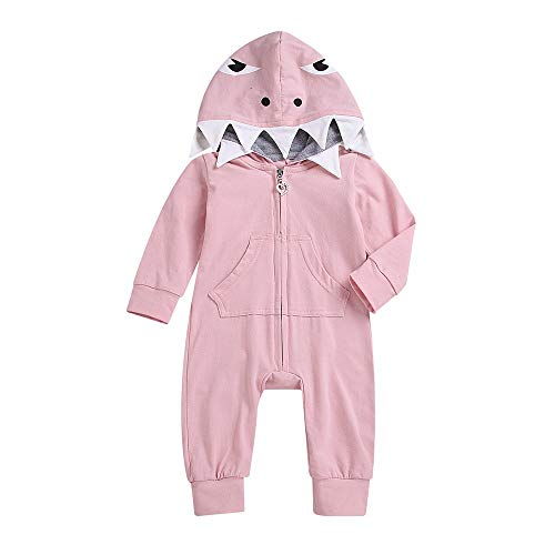 Unisex Baby Autumn Winter Shark Hooded Sweatshirt Infant Boys Girls Hoodies with Kangaroo Muff Pockets& Shark Fin (Pink (Romper), 18-24 -