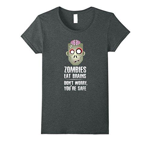 Costume Survivalist Halloween (Womens Zombie Brains Halloween T-Shirt - Funny Zombie Eat Brain Tee Large Dark)