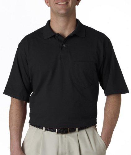 Jerzees mens 5.6 oz. 50/50 Jersey Pocket Polo with SpotShield(436P)-BLACK-M