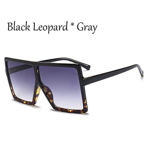 TIANLIANG04 Gafas Mujer Sol Leopard De Bastidor Black De Gafas Square Sol Solar Unas Enormes C2 Protección Negro C6 Grande Plata rXr8Wnw