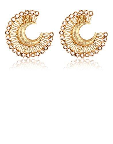 aarohee traditionnel indien polki Boucles d'oreilles en argent sterling pour femme aauk18Finition Or