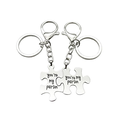 JJTZX You are My Person Grey's Anatomy Inspired Charm Expandable Wire Bangle Bracelet Puzzle Piece Keychains (Puzzle Keychain 2) -