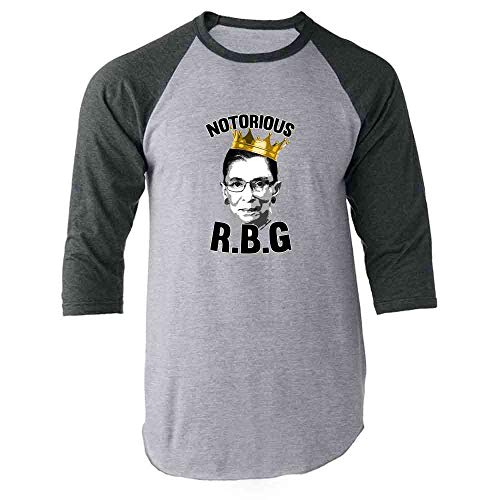 Notorious R.B.G. RBG Supreme Court Political Gray L Raglan Baseball Tee -