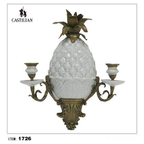 Sconce Porcelain Brass (castilian Wall Sconce Porcelain Ceremic and Brass Pineapple #1726)