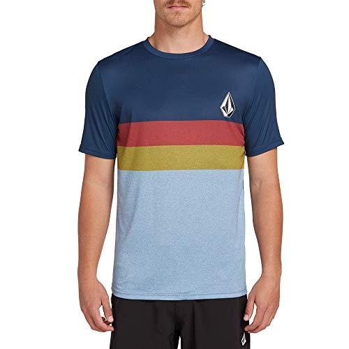 (Volcom Men's Lido Heather Color Block Short Sleeve Rashguard, Vintage Blue, Medium)