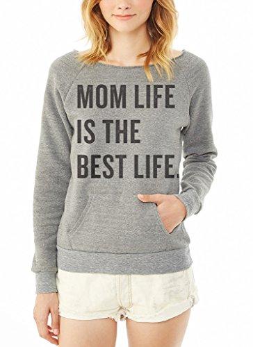 Superluxe Clothing Womens Mom Life is The Best Life Eco Fleece Raglan Sweatshirt, Eco Grey, X-Large (Fleece Raglan Sweatshirt)