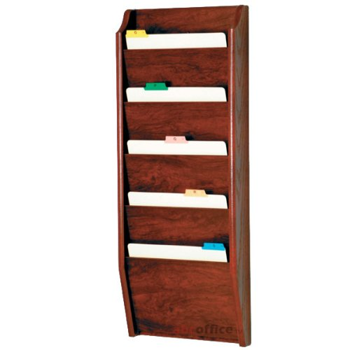 Wooden Mallet CH14-5 Dark Red Mahogany Five Pocket Wall Mounted File / Chart Holder