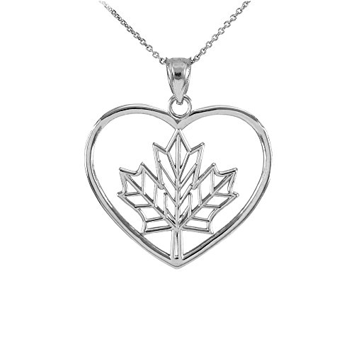Canadian Jewelry (925 Sterling Silver Filigree Canadian Maple Leaf Charm Open Heart Pendant Necklace , 20