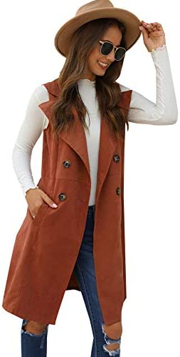 SheIn Women's Double Breasted Long Vest Jacket Casual Sleeveless Pocket Outerwear Longline