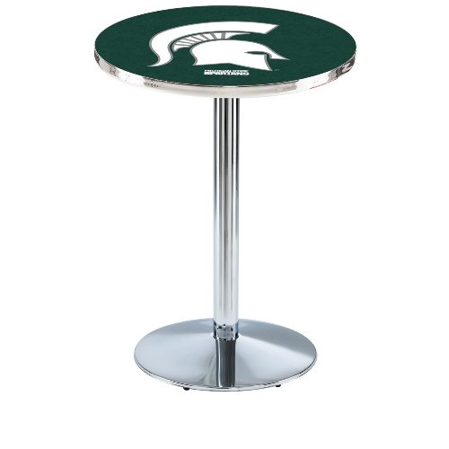 "Holland Bar Stool L214C Michigan State University Officially Licensed Pub Table, 28"" x 42"", Chrome"