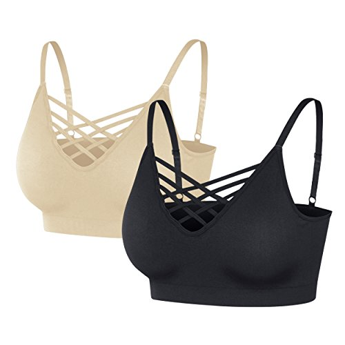(Nolabel [6661 Womens 2Pack Padded Seamless Crisscross Cutout Strappy Bra Crop Top Cage Bralette Adjustable Strap [AAGY/TP] 2X3X)