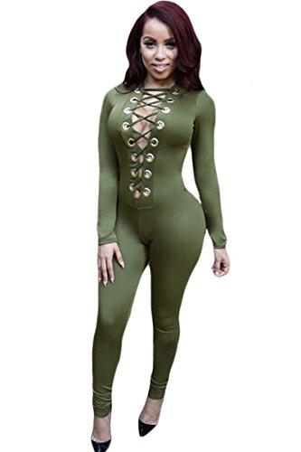 Neue Damen Green Lace Up Front Jumpsuit Catsuit Spielanzug Bodysuit Club Wear Kleidung Größe UK 10EU 38