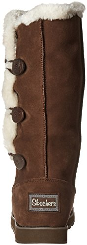 Faux 3 Trim Fur Chocolate Winter Boot Button Keepsakes Women's Appeal Skechers Mid IYqFwSA1x