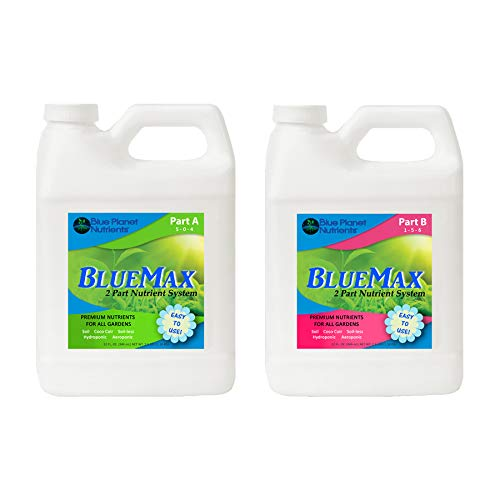 Blue Planet Nutrients BlueMax 2-Part Base Nutrients Quart (32 oz Bottles) | Fertilizer Plant Food | Hydroponic Soil Coco Coir | for All Plants & Gardens