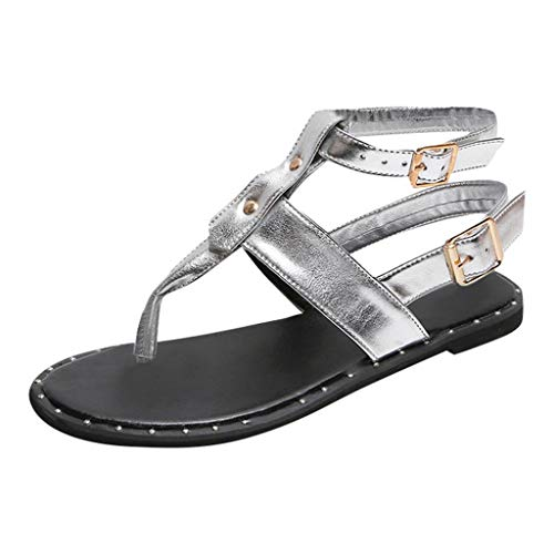 BOLMI Summer Sandals Women Flat Sandals Flip Flops Thongs Clip Toe Slip On Casual Elastic T-Strap Bohemia Beach Slippers Silver