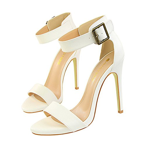 YIBLBOX Womens Ankle Strap Stilleto High Heel Open Toe Pump Shoes- Sexy Dress Formal Party Dress Sandal White 3j1Wu