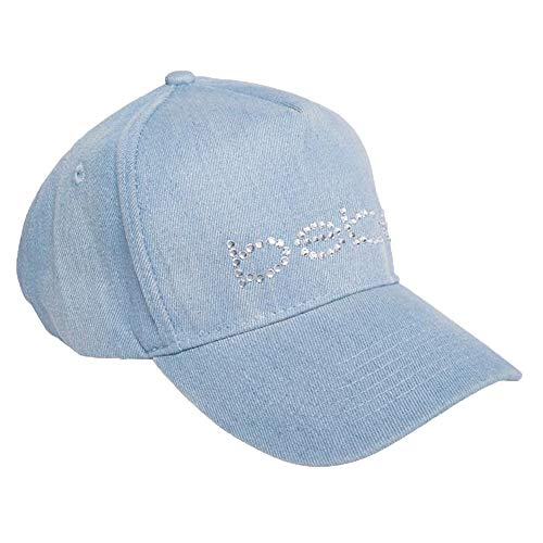 bebe Baseball Hat Cap Light Blue Jean Rhinestone Logo One Size