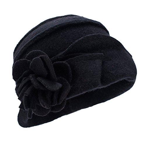 Lawliet Solid Color 1920s Womens 100% Wool Flower Winter Bucket Cap Beret Hat A376 (Black)