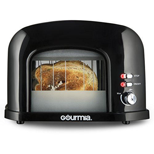 Gourmia GWT230-2 Slice Motorized Toaster With See Through Window - Adjustable Instant Temperature Controls, Removable Tray