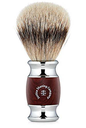 Justice Shaving Company Silvertip Badger Hair Shaving Brush with Faux Wood Handle...