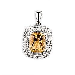 Diamond Citrine Pendant for Women