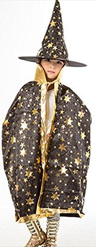 [Cloak Length 82cm Children Suit Black Star Pattern Cloak Wizard Hat] (Childs Bat Costume Pattern)