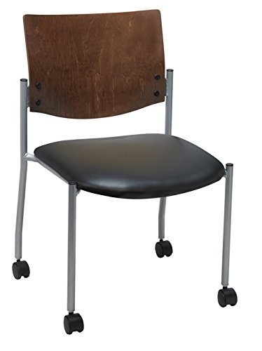 - Evolve Series Guest Chair, Armless with Wood Back and Casters, Black anit-bacterial vinyl Chocolate Back