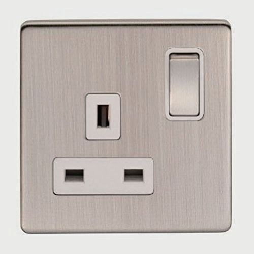 Eurolite, Screwless, Flat Plate, Brushed Nickel, 13 Amp Single Plug Socket. 1 Gang Switched. Brushed/Satin Nickel with Matching Switches and White Trim by (Eurolite Single)