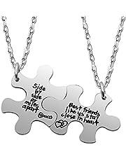 Best Friend Necklace Set Side by side or miles apart best friends close in heart 2PCS