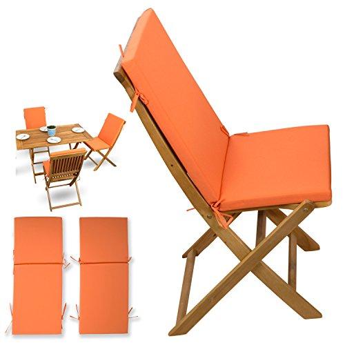 2-tlg-Auflagen-Set-orange-fr-Holzmbel-Gartenmbel-Sets-Gartenstuhl-Klappstuhl-2x-Sitz-Auflagen-mit-Rckenteil