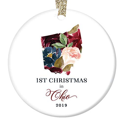 2019 Holiday Tree Ornament Ceramic Collectible Gift 1st First Christmas Season Living in OHIO Keepsake Present for Family Friends Beautiful Flower Blooms 3