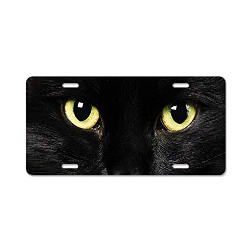 (Jesspad Black Cat - Aluminum License Plate, Front License Plate, Vanity Tag,Auto Frame Cover)