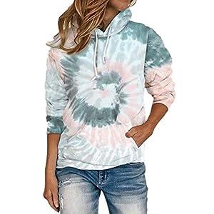 Fadalo Womens Tie Dye Print Sweatshirt Colorblock Long Sleeve Tops Shirt Fashion Casual Pullover Blouse 16