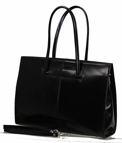 BOZANA Bag Jil nero black Italy Business Luxus Büro Designer Damen Ledertasche Aktentasche Handtasche Schultertasche Tasche Leder Shopper DIN A4 Neu PojHJyTa