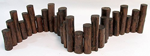 Master Garden Products Teak Wood Uneven Top Solid Log Edging, 60''L