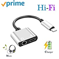 ZJHXFZ Headphone Adapter for 7/7Plus/8/8Plus/X/Xs/Xs Max Earphone Adapter Dispenser Headphone Connector Converter 2 in 1 Aux Audio Accessories Charge and Music, Quick Charge Fast Car Adapter