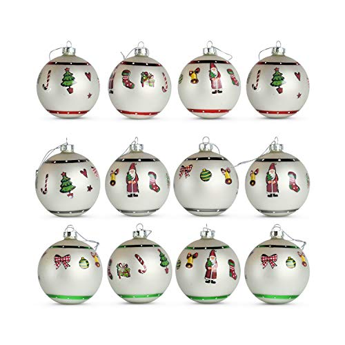 Vintage Christmas Themed Luxe Ball Ornaments, Pack of 12, Assorted Styles, Santa, Candy Cane, Trees, Stars and Stockings, Each 3 Inches in Diameter, from the Holiday Home Collection